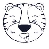 Blurred silhouette cute face of tiger sticking out tongue expression. Vector illustration Stock Photos
