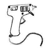 Blurred silhouette electric glue gun icon tool Stock Images