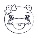 Blurred silhouette face of female hippo animal cute expression smiling royalty free illustration