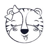 Blurred silhouette face of female tigress animal sticking out tongue expression. Vector illustration Stock Photo