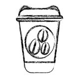 Blurred silhouette glass disposable for hot drinks with lid Royalty Free Stock Images