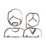 blurred silhouette with half body couple without face she short hair and him with beard Stock Photos