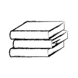 Blurred silhouette set stack school books icon. Illustration Stock Images