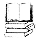 Blurred silhouette set stack school books with open book Stock Image
