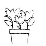 Blurred silhouette spring flowers collection in pot. Illustration Stock Photo