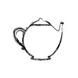 blurred silhouette teapot drink icon flat Royalty Free Stock Photo