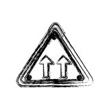 Blurred silhouette triangle shape frame same direction arrow road traffic sign. Illustration Stock Photography
