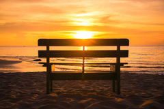 Blurred Sillouete chair and beautiful sunset Stock Images