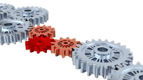 Blurred Silver Gears with One Red Turning. With White Background stock footage