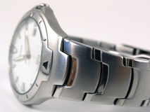 Blurred silver watch. Blurred view of a silver business watch Royalty Free Stock Photo