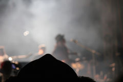 Blurred singer in night concert.  Royalty Free Stock Photo
