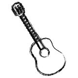 blurred sketch contour acoustic guitar icon Royalty Free Stock Photo