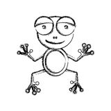 Blurred sketch silhouette cartoon cute toad amphibian Royalty Free Stock Images