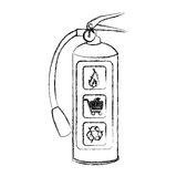 Blurred sketch silhouette fire extinguisher icon. Illustration Royalty Free Stock Photo