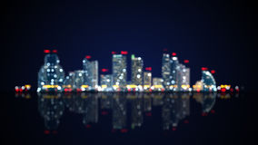 Blurred skyscrapers on shore Stock Image