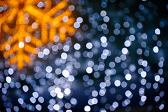 Blurred snowflake and lights background Royalty Free Stock Images