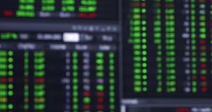 Blurred stock market background. Blurred background of stock market or stock exchange on the computer monitor. Shot in 4k resolution stock video footage
