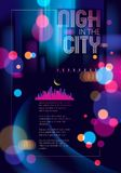 Blurred street lights, urban abstract background. Effect vector. Beautiful art. Big city nightlife. Blur colorful dark background with cityscape, buildings Royalty Free Illustration