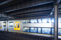 Blurred subway car. Sydney subway station, subway car movement blurred scene Stock Image
