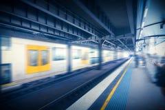 Blurred subway car. Sydney subway station, subway car movement blurred scene Stock Photos