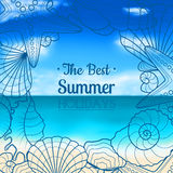 Blurred summer background with seashells and starfishes Stock Photography