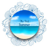 Blurred summer banner with seashells and starfishes Royalty Free Stock Images