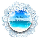 Blurred summer banner with seashells and starfishes Royalty Free Stock Image