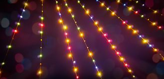 Blurred summer party outdoor bulb garlands stock photography