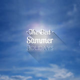 Blurred summer sky background with the inscription Stock Photos