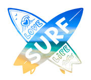 Blurred sunny beach background vector crossing surfing boards silhouettes with hand drawn sign Love SURF Life Royalty Free Stock Photography