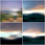Blurred sunset hexagonal backgrounds set, sunrise Stock Image
