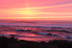 Blurred sunset with vibrant pink, yellow and purple Stock Photos