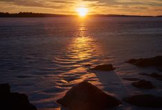 Blurred sunset in winter Stock Images