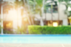 Blurred swimming pool on nature background Stock Photo