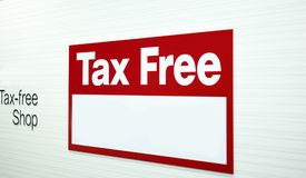 Blurred Tax free labels in stores. Badges for informing customers in duty-free shops Royalty Free Stock Photo
