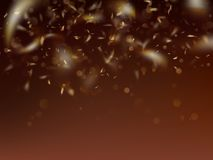 Blurred template with golden confetti and bokeh. EPS 10 vector illustration