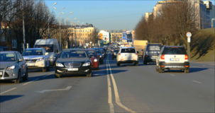 Blurred traffic jams in the city, road, rush hour stock footage