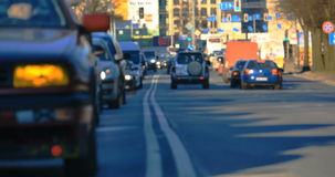 Blurred traffic jams in the city, road, rush hour stock video