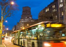 Blurred trafic. Fast moving traffic in night city Stock Photo