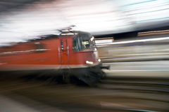 Blurred train. Concept of speed in panning technique of train stock images