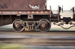 Blurred Train. Wheels in motion panned Canada Stock Image