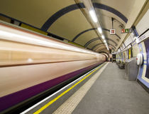 Blurred train. Arriving at Candem subway station, London Stock Photos
