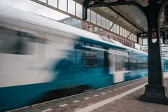 Blurred train motion with high speed stock image