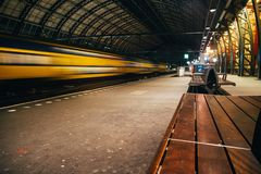 Blurred train motion with high speed stock photography