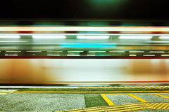 Blurred Train Motion in metro station Royalty Free Stock Images