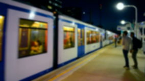 Blurred train at the railway platform,. Blurred blue train at the railway platform, modern transportation diversity stock footage