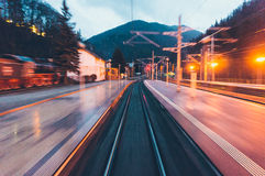 Blurred train tracks at station Royalty Free Stock Photography