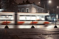 blurred tram night royalty free stock image