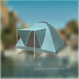 Blurred travelling card with tent image. And inspirational text composition Stock Images