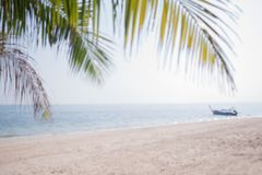 Blurred tropical palm leaves over sandy beach sea with fishing b Stock Photography